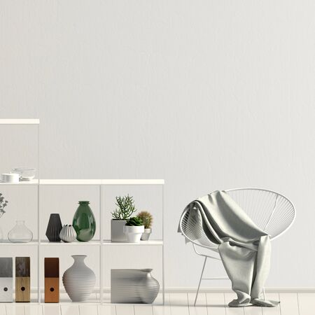 Iinterior design in contemporary style. Mock up wall. 3D illustration. Banco de Imagens - 136279195