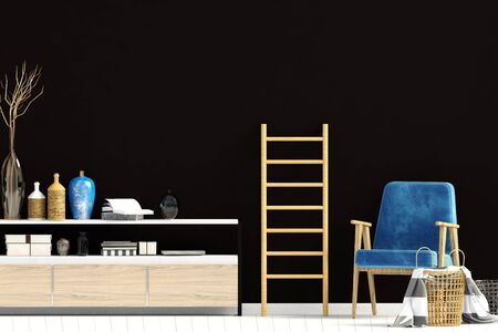 Modern interior with dresser. Wall mock up. 3d illustration. Zdjęcie Seryjne