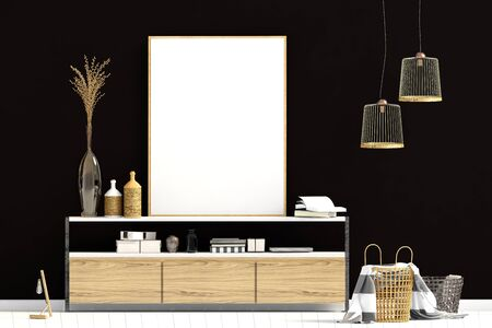 Modern interior with dresser. Poster mock up. 3d illustration. Stock Photo