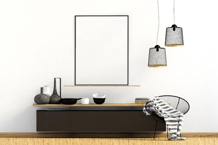 Modern interior with dresser. Poster mock up. 3d illustration. Banco de Imagens - 134097249
