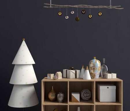 Modern Christmas interior with credenza, Scandinavian style. Wall mock up. 3D illustration Zdjęcie Seryjne