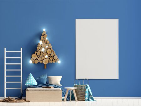 Christmas childs room. playroom. modern style. 3d illustration. Mock up poster