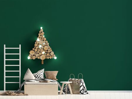 Christmas child's room. playroom. modern style. 3d illustration. Mock up wall Reklamní fotografie