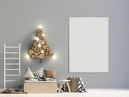 Christmas child's room. playroom. modern style. 3d illustration. Mock up poster Banco de Imagens