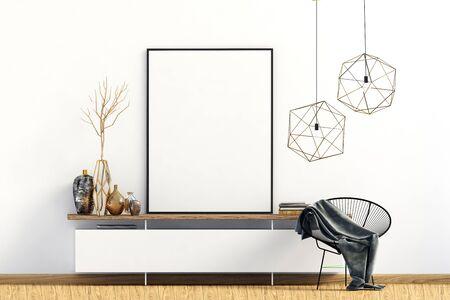 Modern interior with dresser. Poster mock up. 3d illustration. Banco de Imagens - 135050781