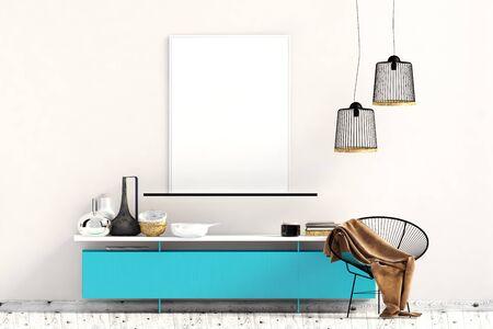 Modern interior with dresser. Poster mock up. 3d illustration. Banco de Imagens - 135050811