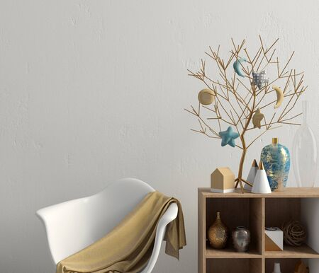 Modern Christmas interior with credenza, Scandinavian style. Wall mock up. 3D illustration Banco de Imagens - 135050653
