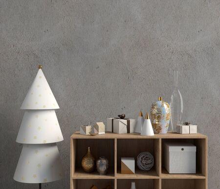 Modern Christmas interior with credenza, Scandinavian style. Wall mock up. 3D illustration Banco de Imagens