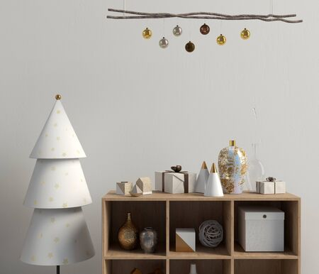 Modern Christmas interior with credenza, Scandinavian style. Wall mock up. 3D illustration Reklamní fotografie