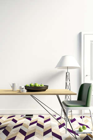 Mock up wall in interior with dining area. living room modern style. 3d illustration Banco de Imagens