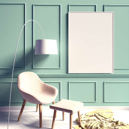 Iinterior design in contemporary style. Mock up poster. 3D illustration.