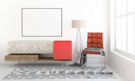 Modern interior with dresser. Poster mock up. 3d illustration. Banco de Imagens