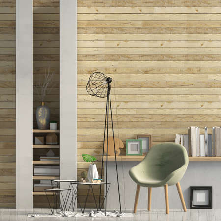 Iinterior design in contemporary style. Mock up wall. 3D illustration.