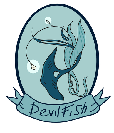 Devilfish inside the oval emblem. There is an inscription on the tape. A fabulous creature. Stylization.Monochrome image. Illustration