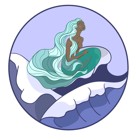Young mermaid on the waves. The image is round, in pastel colors.