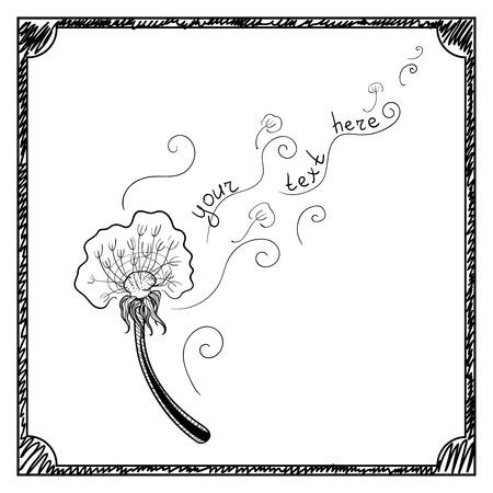 hand drawn doodle dandelion. Doodle art For your text. Vector illustration.