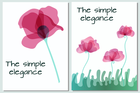 The pink poppy flowers for design are postcard. Petals flower with multiply. EPS 10. Object with transparent