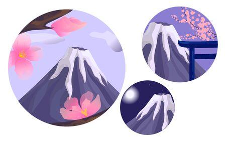 Set of the Fuji illustration. Day, evening and night landscape. Sakura branch. EPS 10. Transparent object.