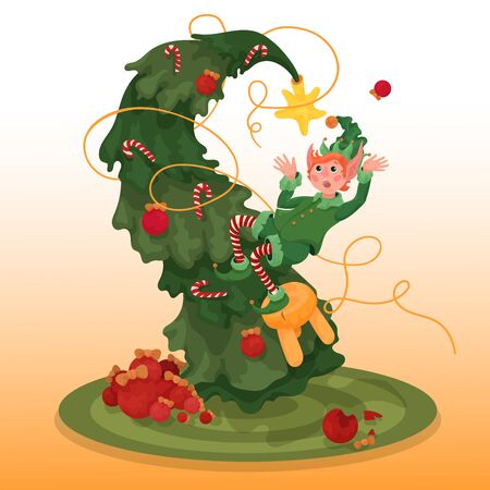 Cristmas story. A little clumsy elf decorates a christmas tree. But something went wrong, it seems he is falling. What an ankward moment