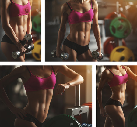 salud sexual: Mujer atl�tica Brutal bombeo de m�sculos con pesas. Ni�a morena sexy fitness en el deporte desgaste rosa con un cuerpo perfecto en el gimnasio que presenta antes de conjunto de entrenamiento. Mujer atractiva de la aptitud