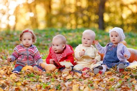 Four cheerful little baby sitting on yellow autumn leaves. Children playing in autumn park. Standard-Bild