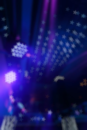 disco lights: Bokeh background color disco. Blurred background nightclub spotlight on disco. Disco lights in the shape of a star. Blur background in the form of stars