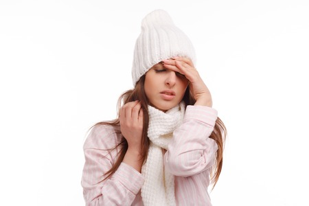 healthy girl: Young woman fell ill and holding his head. Sick Woman, flu. Headache. Virus .Medicines