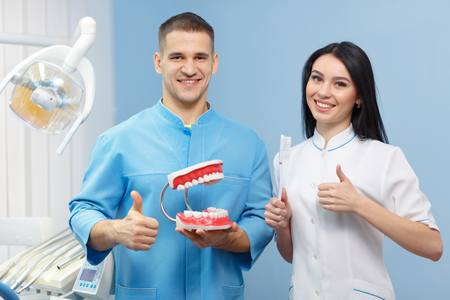 fake smile: Dentist holding model teeth and a woman assistant shows the Like in the dental clinic