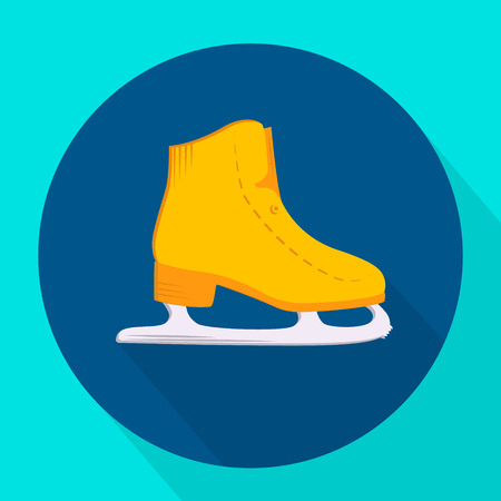 iceskates: Ice skate icon flat design. Vector icons in flat design on the theme sport.  Vector fitness icon. Flat Style Icon with Long Shadow. Illustration