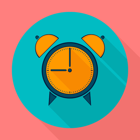 page long: Alarm clock icon flat design. Clock silhouette. Vector icons in flat design on the theme sport.  Vector fitness icon. Flat Style Icon with Long Shadow. Web site page and mobile app design element.