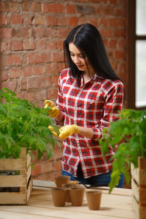 than: More than just existing. Shot of a cheerful smiling female brunette posing holding a tomato plant looking to the camera