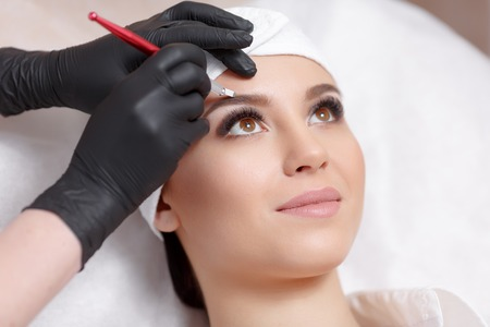Permanent makeup eyebrows. Stok Fotoğraf