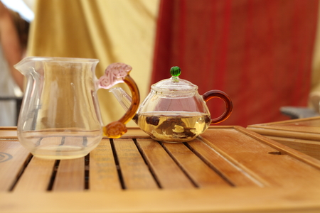 Glass Teapots with Green Tea