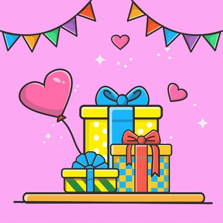 Set of gifts boxes and heart ballon presents colors vector