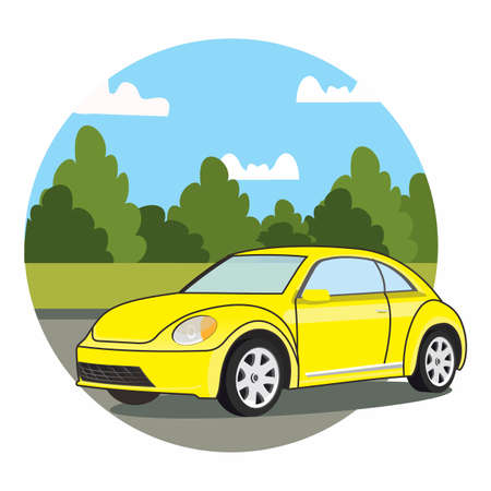 vector of a yellow classic car on the road