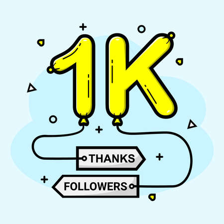 Vector 1k social media followers thank you