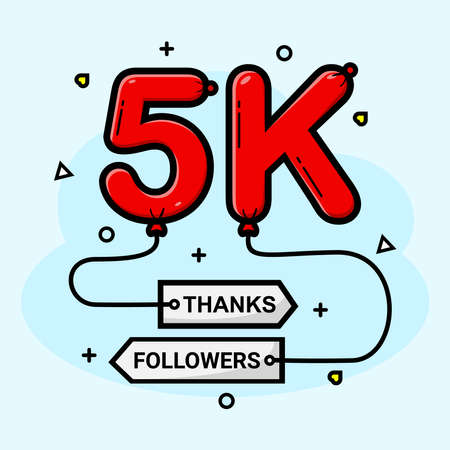 Vector 5k social media followers thank you
