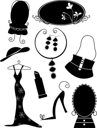 jewelry vector: Silhouette Illustration of Fashion Objects Illustration