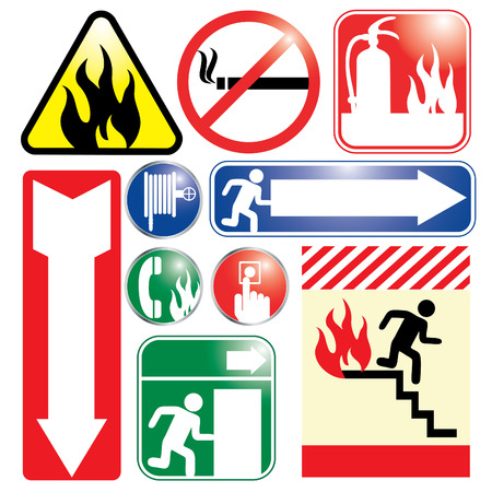 extinguishers: Vector Illustration of Fire related signssignage. Text space for words like EXIT, FIRE EXTINGUISHERS, etc are available on several of the signs.