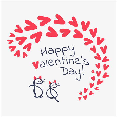 cartooning: Valentines day card with hand drawn cats