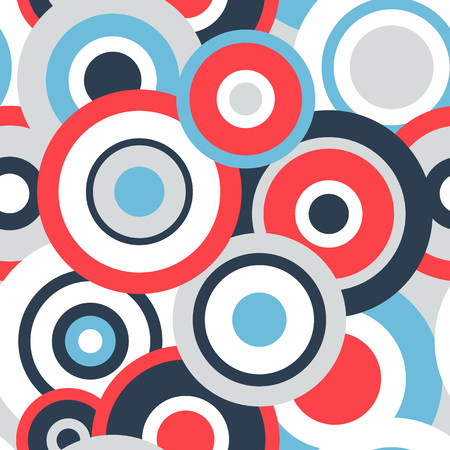 red white blue: Seamless pattern with red white blue and grey concentric circles