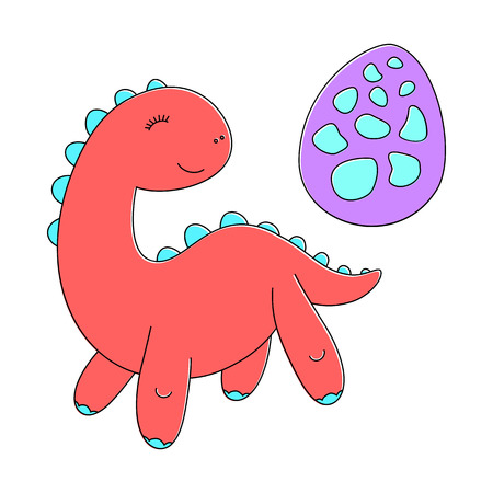 Sticker of red baby dinosaur with violet speckled egg
