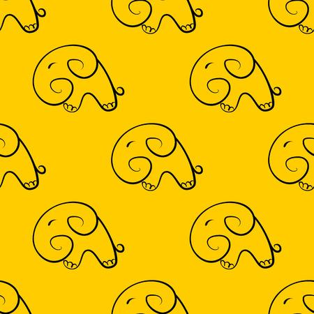 cartooning: Seamless pattern with elephants