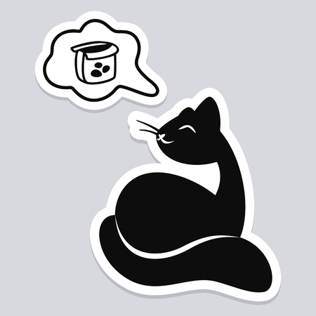 Sticker of black cat dreaming of food