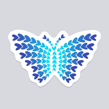wall decal: Butterfly made of small blue hearts. Wall sticker, decal or decoration
