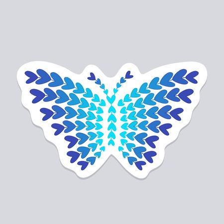 corazones azules: Mariposa hecha de pequeños corazones azules. etiqueta de la pared, etiqueta o decoración
