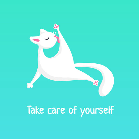 A white cat is licking its paw. Vector pattern with words Take care of yourself. May be used for an encouragement card.