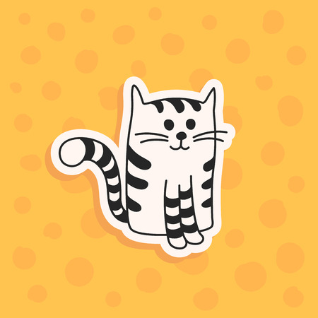 Cute hand drawn black and white tabby cat or kitten. Vector illustration of a cartoon character. A wall sticker, decal or decoration. Illustration