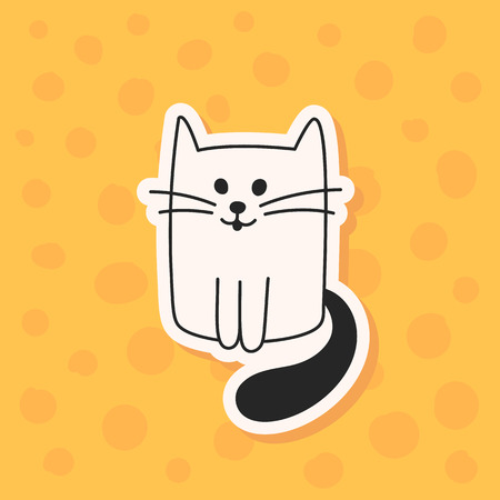 Cute hand drawn black and white cat or kitten. Vector illustration of a cartoon character. A wall sticker, decal or decoration. Illustration