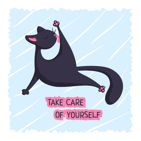 A black cat is licking its paw. Vector background with words Take care of yourself. May be used for an encouragement card.